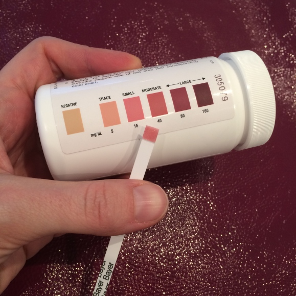 Showing small to moderate ketone levels on these possibly unreliable Ketostix